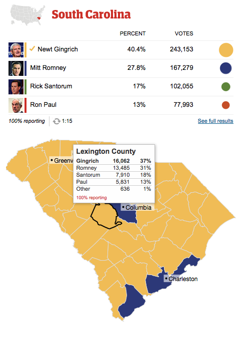 US elections 2012: South Carolina primary results county by county  South Carolina primary election results, county by county, with detailed turnout figures