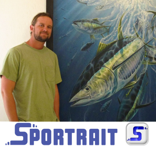 "Sportrait would like to introduce to you our Logo and Icon creator Peter Agardy from PeterAgardyFineArt.com. Peter is a proud supporter of the Sportrait.me project who took time out to create our logo and icon. We will be doing  a lot more with Peter in the future. Below is a Bio on Peter. As a 4th generation floridian, Peter is influenced by his natural  surroundings from the ocean to the great outdoors. Growing up an avid  fisherman and surfing the waters of Florida, Bahamas and other exotic locations, Peter gained a lifelong passion for nature,  the sea, and it's beautiful preditors and creatures. Coming from a  family line of fishermen, artists and painters, he felt naturally driven  to pursue and explore marine art. Early on, he quickly pursued drawing, painting, creating imagery and illustration from the world around him. After graduating from Florida Atlantic University with a Fine Arts degree in December 2008, and working as an artist throughout, Peter has  continued to succeed in bringing his view and experiences to life onto  canvases and wall spaces. Peter has recently been working with cities  across South Florida with their Art in Public Places programs helping bring large scale murals to the community, while at  the same time always finding time to express his visions on canvas as  well. ""I have always meshed whatever surrounding forces are driving me into  the body of work I'm doing. Sometimes my work lends itself to different  areas of importance in my life, whether that be my lifestyle on the  ocean, or my place in nature, which I live and paint into one body of  life's work "" -Peter Peter has exhibited his work in various Galleries and venues around  South Florida since 2007 and debuted his first solo exhibition at Eaton  Fine Art in West Palm Beach in September 2010, which solidified his statement of work and shed light on his vivid wild imagery. Peter has recently teamed up with the apparel company Shore Thing, and launched 'The Peter Agardy Signature Series' a line of shirts featuring his vivid imagery. Follow Peter on Facebook - Also Be sure to keep up on Peter's most recent endeavors in the news feed at Perter Agardy Fine Art."