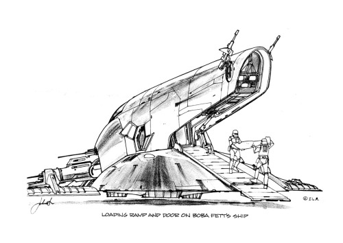 heyoscarwilde:  Designing Slave 1 The Empire Strikes Back concept artwork by Joe Johnston and Nilo Rodis-Jamero :: scanned from The Empire Strikes Back sketchbook :: Ballantine Books :: 1980