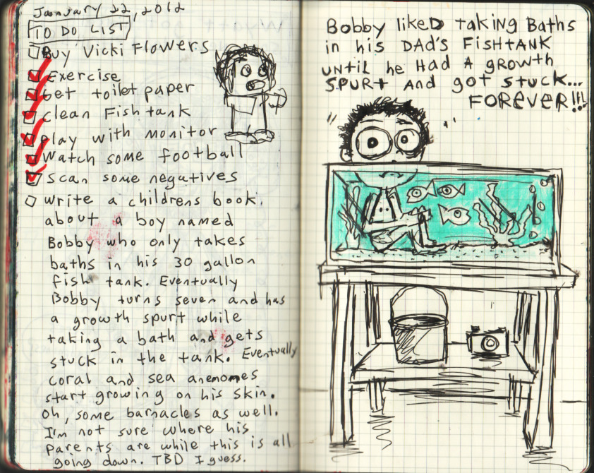 Bobby liked taking baths in his dad's fish tank until he had a growth spurt and got stuck… forever.