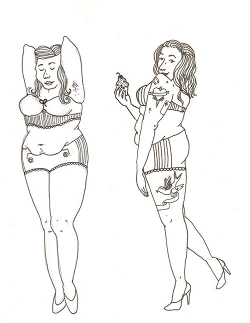 pin-up fatties! rough tattoo designs for ms. carly.