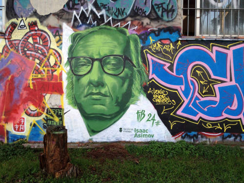 Isaac Asimov (by perreault) Isaac Asimov graffiti in a park in the Pignetto area of Rome.