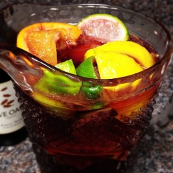 Getting ready to entertain for football with Sangria.
