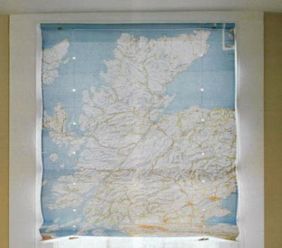 unconsumption:  Here's another use for outdated maps: Use as window covering. To make classic window shades (from maps or other material), a helpful tutorial can be found here. (via Martha Stewart) See also: Earlier Unconsumption map-related posts here.