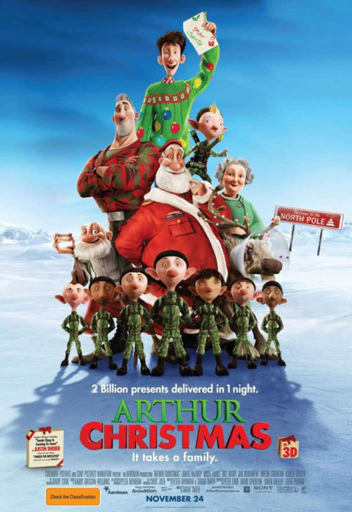 #303/#20 Arthur Christmas When a little girls gift is the only one missed by the current Santa Claus (Jim Broadbent), it's up to his son Arthur (James McAvoy), a single elf (Ashley Jensen) and the previous Santa (Bill Nighy) to try and get it to her on time while Arthur's brother Steve (Hugh Laurie), next in line to be Santa and more militaristic/tech heavy in his approach, wants to call it a night. A tad late for a Christmas film I know, but I kept hearing such good buzz about it that I decided to give it a go. The buzz was not wrong; this is a great animated feature film and will probably go on to be a Christmas classic in years to come. The premise, first of all, updates the Santa story to the here and now. It's no longer wooden trains and tin soldiers, it's play stations and blackberries. It has a novel idea on how Santa manages to get round every house in the one night, even given the massive scale of the task now, and tackles every question you've ever had on the subject. It's actually a rather clever film in this respect. The voice acting is top notch as well with McAvoy lending the heart the story needs, Laurie playing belligerent and under appreciated perfectly, Broadbent being the epitome of a do nothing figure head and Nighy just stealing the show with all of his comedic lines. Add to this some good animation, some really funny jokes and a familiar, yet new spin on an old story and you are beginning to get a picture of this film. I'll be checking it out again next year in the right festive mindset and I suggest you do the same as well. 4/5