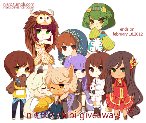 niaro:  Hi! This is my first tumblr giveaway and I hope it goes well! I am giving away a full chibi illustration to the winner on February 18th. Rules ●Following You must be following me because this is a followers appreciation giveaway. You may follow me just for this event but you know… You have to like my art? ●Like or reblog once Likes and reblogs count in this drawing! You may reblog and like only once. I don't want you to have to spam your dashboard with my shit.  ●Keep your ask box open. If you win and your ask box is closed then LOL sorry… I will be notifying you through that method. ● Reply within 48 hours. If you don't reply within 48 hours with some form of life I will move on to the next winner. ● Please have references at the ready and know who you want. Please request a cute/girly character because that is how they will end up anyway. (MEANING DO NOT TROLL ME WITH A MANLY OR BURLY CHARACTER I don't have time for that) ● I will do a chibi couple on the same canvas if both characters are simple enough. If I find them too detailed I will request to draw a single character. The couple in this giveaway image should be your benchmark. ● I have the right to choose another winner if you are being difficult to communicate with. ● You do not have the right to use the chibi for commercial use. You may use it for personal uses and you cannot claim that you drew it. I will do…✚ Cute, pretty, and young characters✚ BL, GL, Straight I will not do…✖ Mecha✖ Characters with extreme muscle definition✖ Full-blown anthro (I can do ears, tails, animal feet, and small snouts. it doesn't hurt to ask!) I think that's all I need to note! Thank you and I will always appreciate everyone's support!