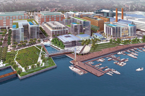nrdc:  Washington, DC is finally getting a green waterfront development to be proud of.  A 42-acre redevelopment along the Anacostia River, The Yards will comprise some 1.8 million square feet of office space, 400,000 square feet of retail and cultural spaces, 2,700 rental and for-sale homes, and a significant riverfront park and esplanade.  With a great in-town location along a Metro line and only a few blocks from the US Capitol, and with some excellent green features, the project has been certified gold under the LEED for Neighborhood Development pilot program. Read more. Rendering of The Yards by Forest City Washington via DCYards.com  This could be good