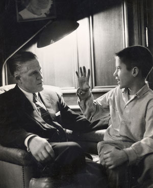 "Mitt Romney as a boy, back when he still looked up to his dad.  Romney's decision today to release only two years of tax returns would clearly disappoint his father.  When George Romney ran for president, he released 12 years of tax returns, saying ""One year could be a fluke, perhaps done for show."" Mitt's choosing to release his dullest years, avoiding anything during his controversial tenure at Bain Capital. Daddy wouldn't approve."