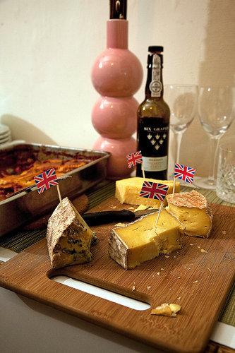 "a selection of British cheeses at a viewing party for ""Downton Abbey."" ""Downton Abbey"" Inspires Themed Viewing Parties (NYT) [Christina Haag doesn't seem like she's enjoying the show. Emily Bergl looks hot, though (talk to the hand, esquared)] (More of Downton Abbey viewing parties here, not here, but also here)"