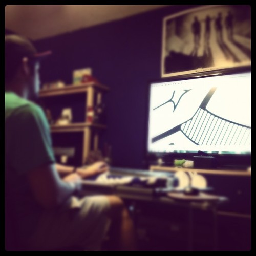Touching up designs for our first 2012 release. #fourthetaking #fashion #clothing #streetwear  (Taken with Instagram at Four The Taking HQ)