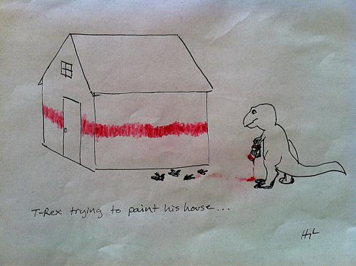 T-Rex Trying To Paint His House   #TRexTrying