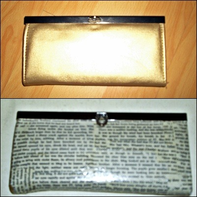 My Diy clutch makeover; I received this clutch as a gift, and I loved it except for one thing: I hate gold. Determined to put it to use, I whipped out my trusty Mod Podge and gave it a coat with some old book pages (the book wasn't that great)…then another coat of Mod Podge…and another…and another…and finally voila! I had a brand new clutch that suited me while still using my gift (because you know I was obligated to).