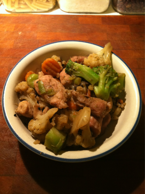 Food post! Sunday dinner: pork stir fry with carrots, broccoli, mushrooms, and cauliflower.