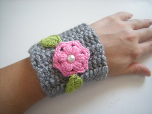 """Crochet Cuff: Grey Green Pink"" by vintageniltb"