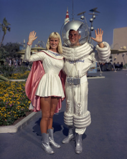 "vintagegal:  ""Space Woman"" and ""Space Man"" at TomorrowLand, Disneyland c. 1960"