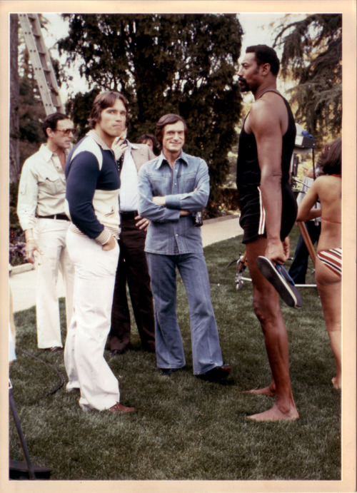 superseventies:  Hugh Hefner, Arnold Schwarzenegger and Wilt Chamberlain at the Playboy Mansion, 1977.