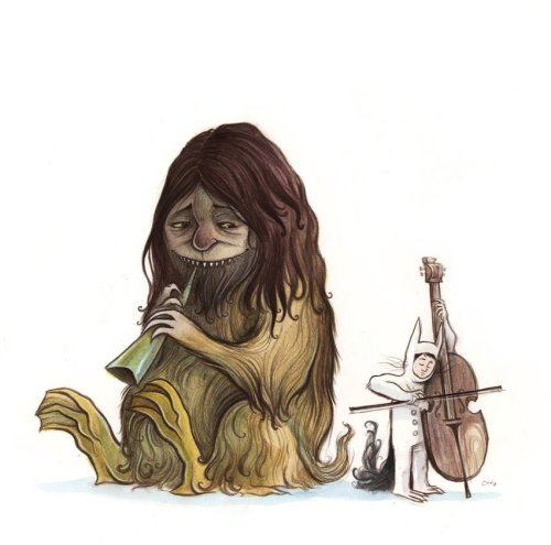Cello Thing … Terrible Yellow Eyes is  a Maurice Sendak tribute blog that I created and curated from May  1,  2009 - January 1, 2010. Throughout the course of the project I  created  several original paintings based on my love of Where the Wild Things Are. … To view the entire collection of over 200 contributions visit Terrible Yellow Eyes.
