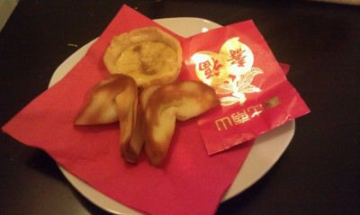 Happy Chinese New Year!  Homemade HongKong style egg tart and fortune cookies.