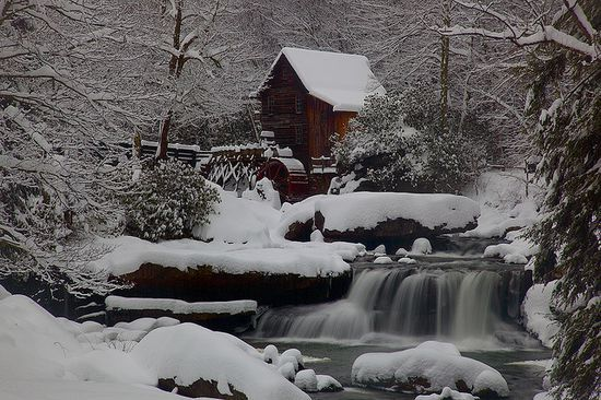 emilialua1:  West Virginia Gristmill Waterfall Winter Snow