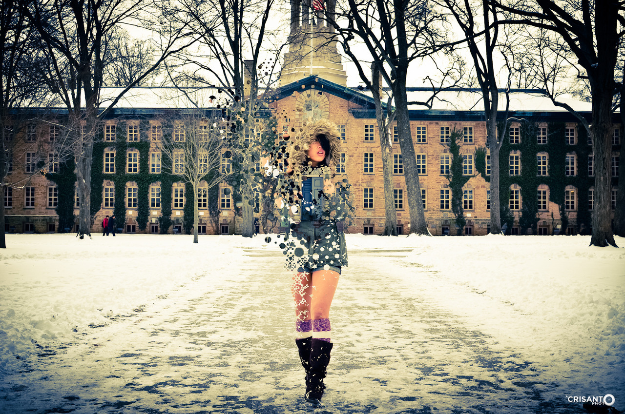 She fades in the snow… Special thanks to Jon Chin and models Alyssa and Trisha for a wintertime fiasco!