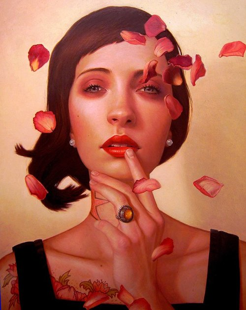 "ssdmmfr:  Artist: Kris Lewis ""Rose Zephyr""  Oil on Wood, 20"" Inches x 16"" Inches"