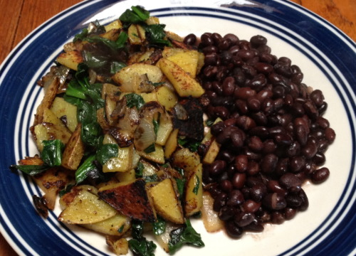 Sauteed Breakfast Potatoes with Spinach and Black Beans As a vegan, I don't like going out to breakfast. Your choices are between a 5 dollar cup of fruit-that has spent 3 weeks traveling from every corner of the earth, only to arrive as a mealy flavorless pile of gush-or if you are somewhere with a little consciousness, a tofu scramble. I'm sorry if I offend vegans everywhere, but I do not like tofu scramble. Tofu was not meant to be scrambled. Curry powder or whatever they use does not make it taste like an exciting flavorful party in my mouth, it makes it taste like an overeager 6 year old just cooked me a mud pie. However, this morning I woke up wanting a nice hearty breakfast, so I decided to make things happen for myself. I used all locally farmed veggies: an irish butterball potato, a white onion and some spinach, sided with trader joes black beans. It was quick and easy to make, tasty, and had a balanced combination of veggies, proteins and carbs. Best of all, it felt like I was eating at a restaurant without spending the money. Ingredients: One large potato 1/3 white onion 2 large handfuls of spinach 1/2 can black beans Canola or olive oil Salt, pepper, garlic powder to taste Optional: ketchup, hot sauce, lemon wedge Directions: Chop your onion into bite size pieces, and put in a large frying pan with some oil Chop your potatoes into thin bite size pieces (if you cut them too large they will take a long time to cook) Sautee potatoes and onions together ,adding oil as needed Cover with a lid and let it steam for a few minutes Add your spices Meanwhile, heat up the black beans When your potatoes are pretty much cooked through, add the spinach and cover again Remove lid, let any moisture cook out, and serve with beans on the side Squeeze some lemon on your potatoes or add ketchup and hot sauce on the side Happy vegan breakfasting!   -N