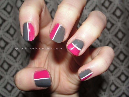 Color block.  Here is some color blocking in pink and grey divided by a thin white line. Polish used: OCC Dangerous & Pageant, Inglot 29