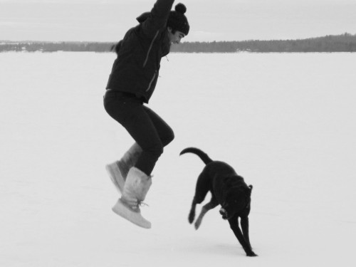 doing a dance with my bud! polarhair:  Al and Cash dancing in the snow like hooligans on the frozen lake.