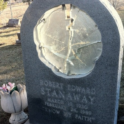 "Boulder Cemetery. This grave has 1.5"" glass detailed as if it were a section of a tree. (Taken with instagram)"
