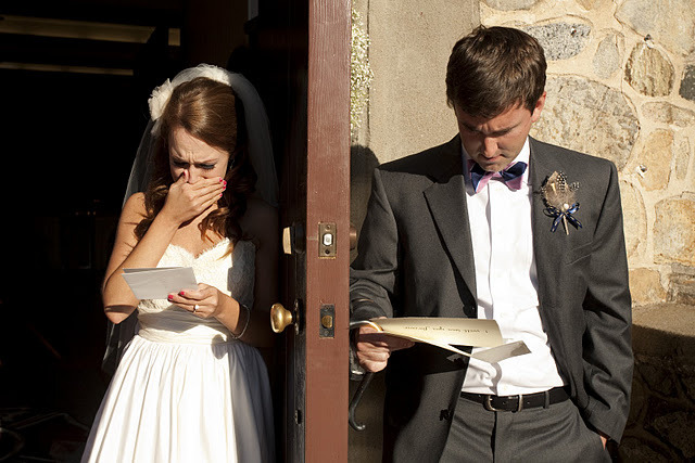 cheap-wednesday:  fortheloveofweddings: Moments before the ceremony, Matt and I gave each other handwritten letters to read together {between a door}. This was such an intimate moment and I am so glad we decided to do it.