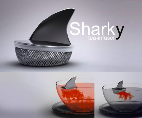 boycottingtrends:  I would drink all my tea out of a clear bowl if I had this.  [Description: A tea infuser shaped like a shark fin.]