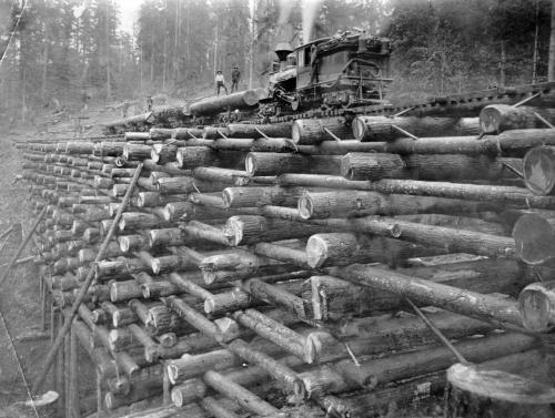 Workers building a log bridge in Oregon, 1910 - by John Fletcher