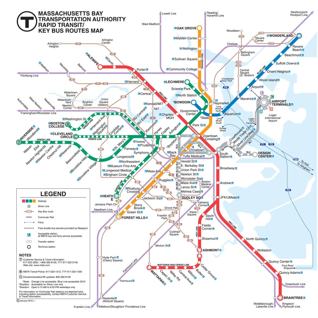 "Official Map: MBTA Rapid Transit/Key Bus Routes Map – Boston, Massachusetts I haven't really looked at the Boston MBTA map since I was there for a few days in the middle of 2008, but I certainly don't remember it looking as bad as this. I've always been mildly annoyed by the fact that not all the stations on the surface street sections of the Green Line are labelled, but my overall impression back then was of a solid, well-designed map. Just a few short years later, well-meaning but poorly thought-out additions have reduced the map to the horrible mess we see here. And the word ""addition"" reveals the real cause of this map's problems: new services have simply been slapped on top of the earlier map when it actually needed a full redesign to solve the problems that these additions created. If you strip the map down, you can see how these problems multiply with the addition of each new service. The subway lines by themselves actually make a nice, well-designed diagram. Then the commuter rail routes were added: these still fit within the framework fairly well. Then the Silver Line - by now, the designer is struggling to make things fit, resulting in an incomprehensible maze of directional arrows to the west of South Station. Finally, the ""key bus routes"" have to be shoehorned into a map that was never originally designed to show them, resulting in the routes weaving uncertainly all over the map. Oh, and did I mention the ferry routes and the airport shuttle buses? Have we been there? Yes, although I only used the ""T"" a couple of times, and only in the downtown area. What we like: Ambitious scope to show different transit modes. Unfortunately, looks very amateur compared to some of the maps currently coming out of Europe. I don't have a problem with the commuter rail lines not being shown along their entire length - they head a long way out and this is a map of Boston, not Massachusetts or New England! What we don't like: This is going to be a long list… I really dislike the knobby, multi-armed Transfer Stations - South Station and Forest Hills look incredibly messy, while Haymarket's angled bus stop circle clearly shows that the designer simply ran out of room and cheated to fit the station name in. Even worse are the transfer stations rotated to a random, non-45-degree angle (also cheating) to allow them to connect to a bus service (see Hynes, Coolidge Corner and Harvard Ave on the Green Line for examples). The Silver Line is one hot mess. It's not a subway line (it's actually BRT), but is shown as one. It's made up of four separate routes (SL 1 and 2 run to the east of South Station, SL 4 and 5 run to the west – with no direct interchange between the two sets of routes), but it's almost impossible to decipher this on the map. As noted before, the directional arrows on the SL4/5 routes don't really help at all. Lots of stops on SL1 and SL2 simply aren't shown at all - not even a dot! But the bit I hate the most is where SL1 loops around the Logan Airport Terminals - the connecting line joins on against the directional flow of the arrows: hideously counterintuitive and ugly. The less said about the presentation of the bus routes, the better. Cramped and ugly. The way the curve of the 32 doesn't nestle into the curve of the commuter rail line to the south-west of Forest Hills catches my eye (in a bad way) every time. My final major complaint is the representation of Boston's geography - on a diagrammatic map like this, I'm almost never in favour of ""realistic"" representations of shorelines and rivers, seeing as they have to be seriously distorted to fit around the diagram anyway! I believe they should also be represented in a simplified form to add to the clarity of the map. Here, we have the seemingly farcical image of the F2 ferry passing over what looks like a spit of land to reach its destination in Quincy (it's actually going under a bridge, but this map doesn't draw that distinction at all). Our rating: Well meaning, but seriously flawed. Needs to be rebuilt from the ground up. With the addition of the Silver Line, the centre of the city needs far more space given to it, while the edges can afford to be compressed a bit to compensate (look how much room the Braintree leg of the Red Line has, for example). One-and-a-half stars.  (Source: Official MBTA website)"