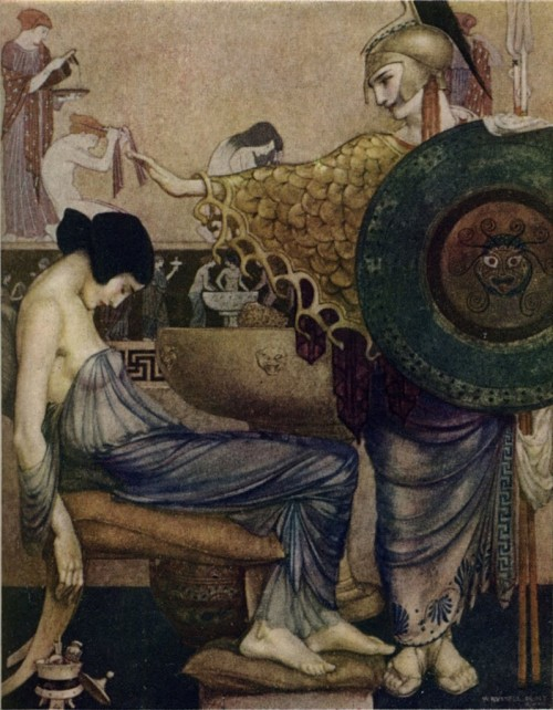 fletchingarrows:  rhade-zapan:  The Odyssey of Homer by William Russell Flint    i jsut love athena. when i was growing up, i was pretty much an athena cult of one.  The Odyssey is an automatic reblog.