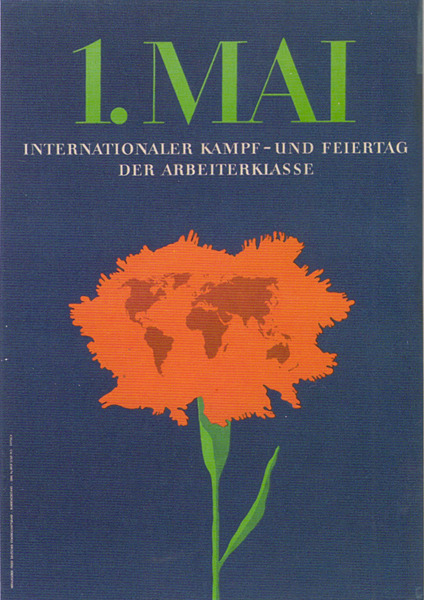 Poster by Kiffnick Heinz during the RDA / DDR [ Have you found the world map on the poster? ]