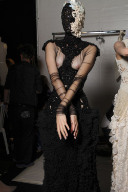 Backstage at Alexander McQueen Spring/Summer 2012