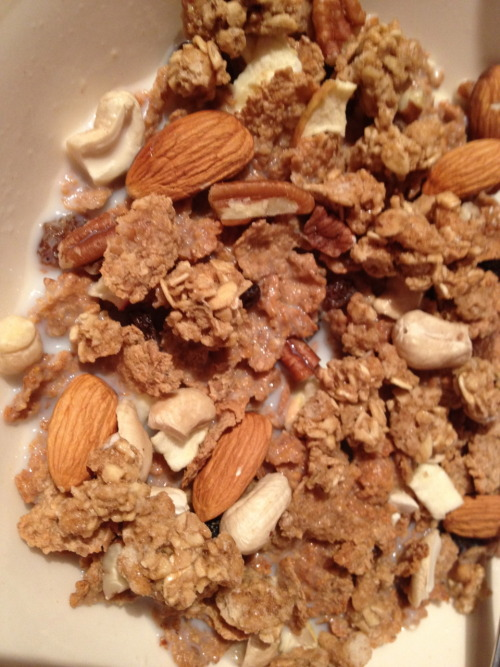 Breakfast 23.1.12:This tasted DAMN GOOD. 60g bran flakes, raw whole almonds, raw cashews, raw pecans, an actimel probiotic drink instead of milk, a cup of green tea and 3 vitamins - C, Multivitamin and Fish Oil capsule.