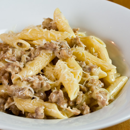 italianchef:  Penne with Sausage and Cream - This has become on of my most popular recipes. Simple and just a little decadent.