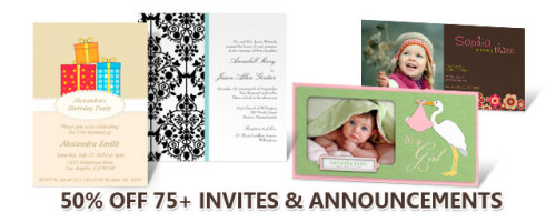 50% DISCOUNT on  75+ INVITATIONS & ANNOUNCEMENTS  50% of the invitation net sale price will be deducted when seventy five or more qualifying invitations are purchased  Click link » 50%OFF75+ to activate the discount offer ends 11.59pm (PT) January 31, 2012