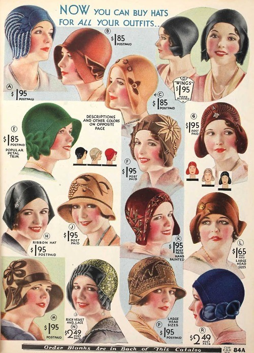 ladylikeladyads:  Women's hats from the 1920s/1930s