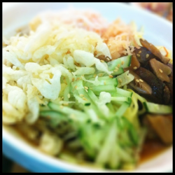 Hiyashi Tanuki at Jipan (P220)  + my favorite cold soba ever + very refreshing taste + sweet tempura sauce-like dipping sauce - sometimes served with udon.. Dont like it very much like that. Prefer the thin noodles