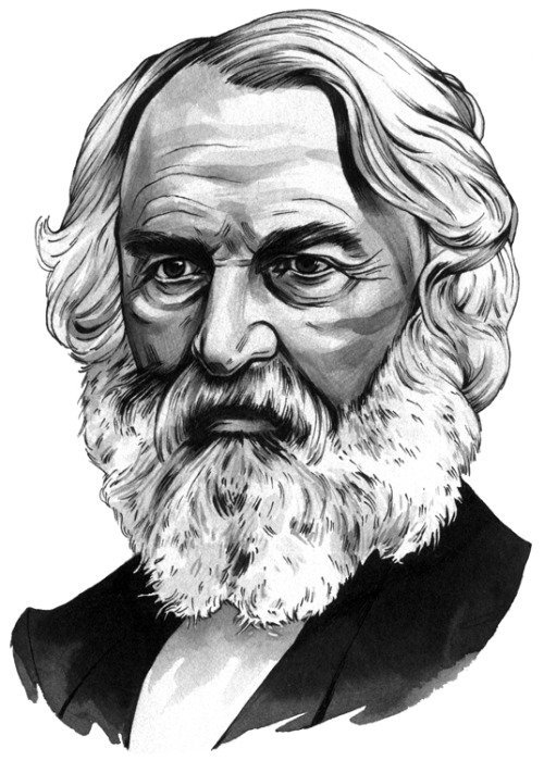 Henry Wadsworth Longfellow for TIME Magazine, sumi ink and pen.