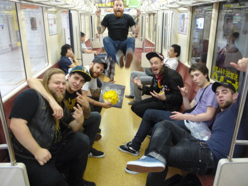 Cancer bats & BMTH (& crew) hanging on the Tokyo subway, just after a minor earthquake in 2009.
