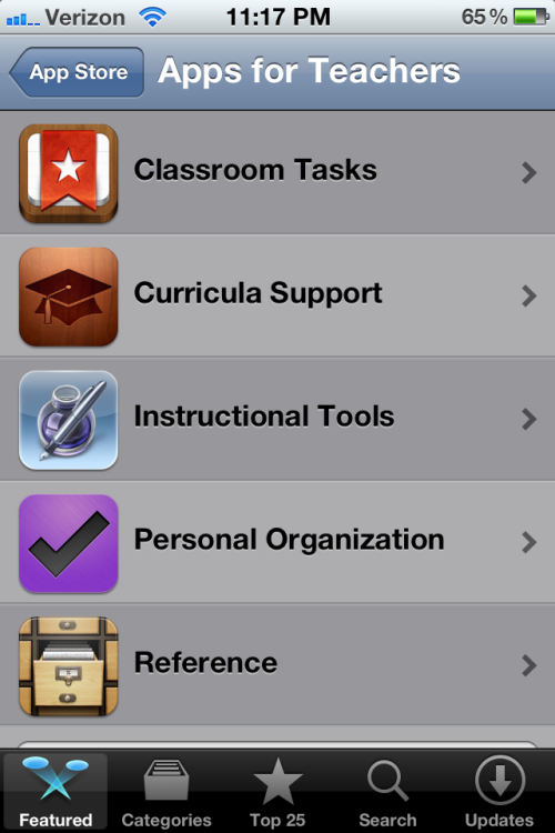 Thanks for the heads-up teachersintiaras:  Attention all iPhone users: There are Apps for Teachers on the App Store! The apps include fun games, organizational tools, and even PowerSchool. I am so glad this was finally discovered (well, technically I have to give my boyfriend the credit for the discovery). Go check it out! Oh, and have a splendid Monday.