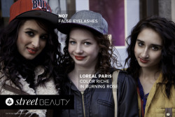 Natalie, Sophie, and Kayleigh wear no7 false eyelashes and Loreal Paris Color Riche in Burning Rose. Photographer: Eva K Salvi