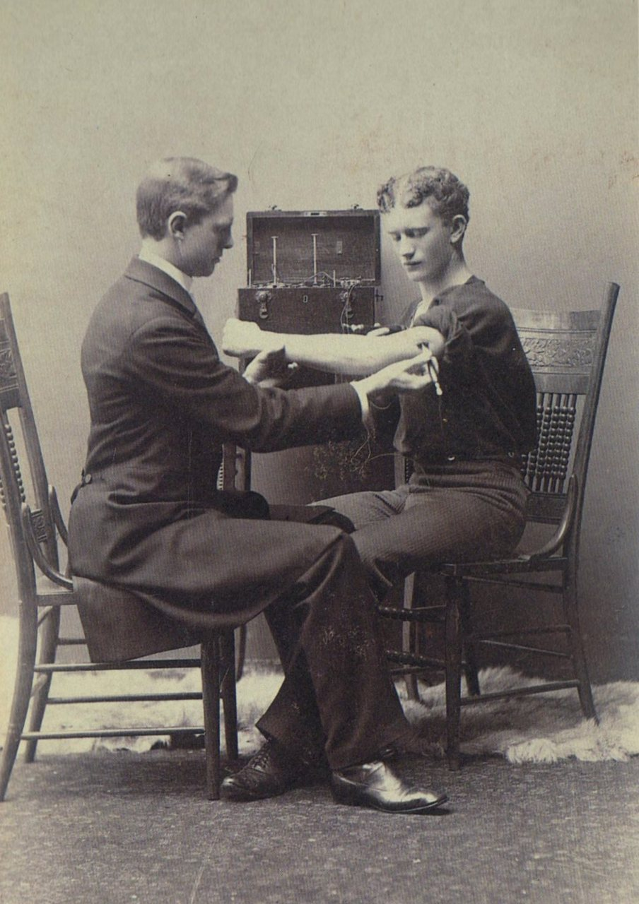 tuesday-johnson:  ca. 1884, [photograph exhibiting a neurological exam with an electrical device], Charles Lanier via A Morning's Work: Medical Photographs from the Burns Collection, Stanley B. Burns, M.D.