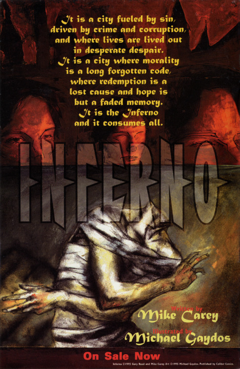 Promotional ad for Inferno by Mike Carey and Michael Gaydos, 1995.