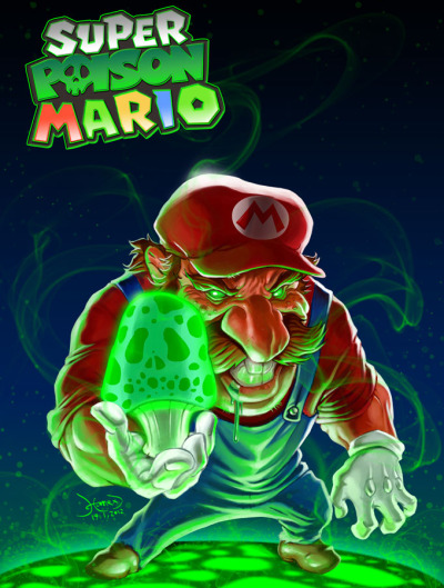 "Ce SUPER POISON MARIO est malade. justinrampage:  Hamed Talebani illustrated the after effects of Mario digesting a poisonous mushroom for the #Game-Art-HQ ""Turn Good 2 Evil Evil 2 Good"" contest. Super Poison Mario by Hamed Talebani"