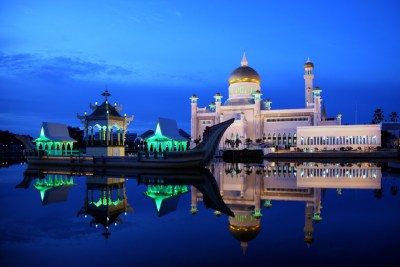 Dusk at the Sultan Omar Ali Saifuddin Mosque, Brunei