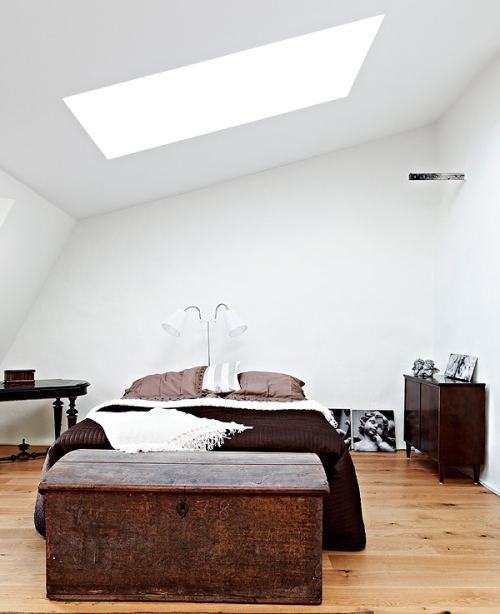 Dark chocolate brown and white bedroom via 79ideas. Minus the spooky cherubs.